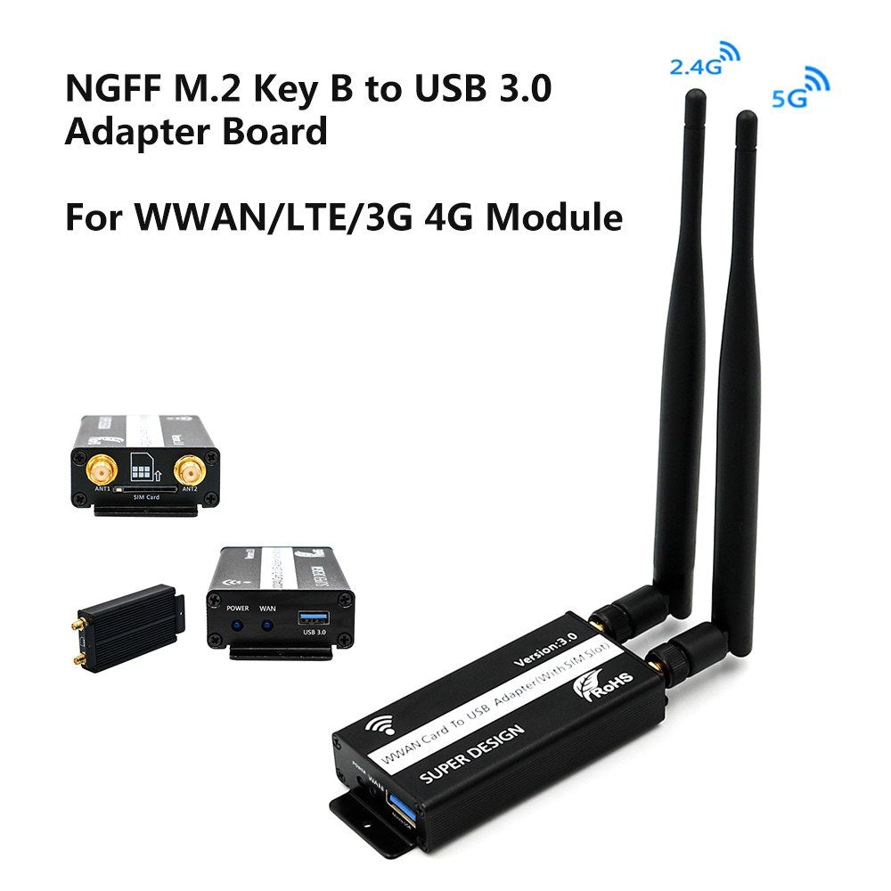 Go2Funlive Ngff M.2 Key B To Usb 3.0 Adapter Board Card Lte Module With Sim 6/8 Pins Slot For Wwan/Lte/3G 4G Module
