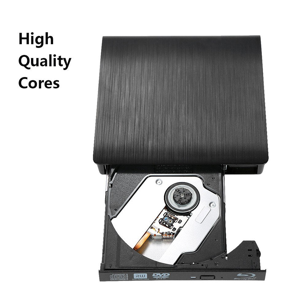 Ultra Slim External Drive DVD-RW USB 3.0 Burner Writer BD-ROM 3D Blu-Ray Player for Linux Windows Mac OS Black