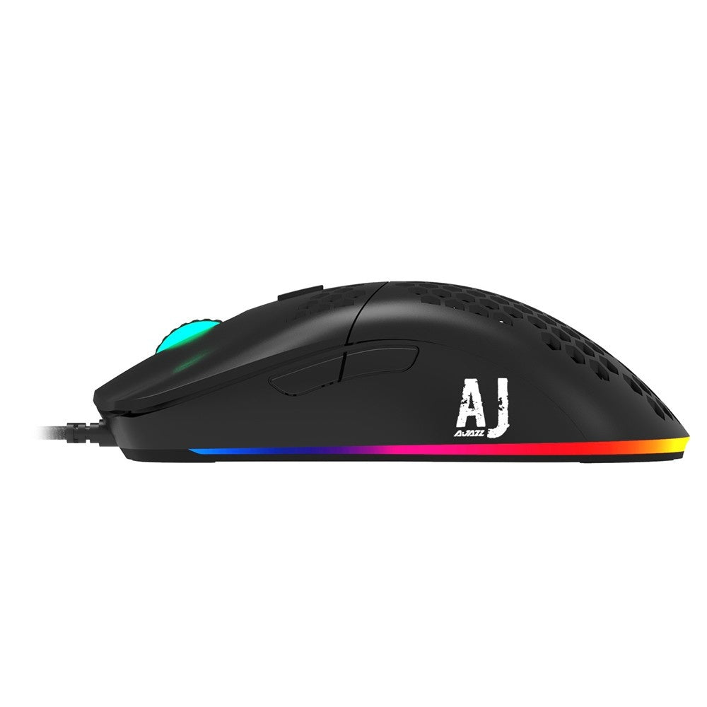 Go2Funlive Ajazz Aj390 Usb Wired Gaming Mouse With 7 Keys Adjustable Dpi Ergonomic Design Hollowed-Out Honeycomb Design Black
