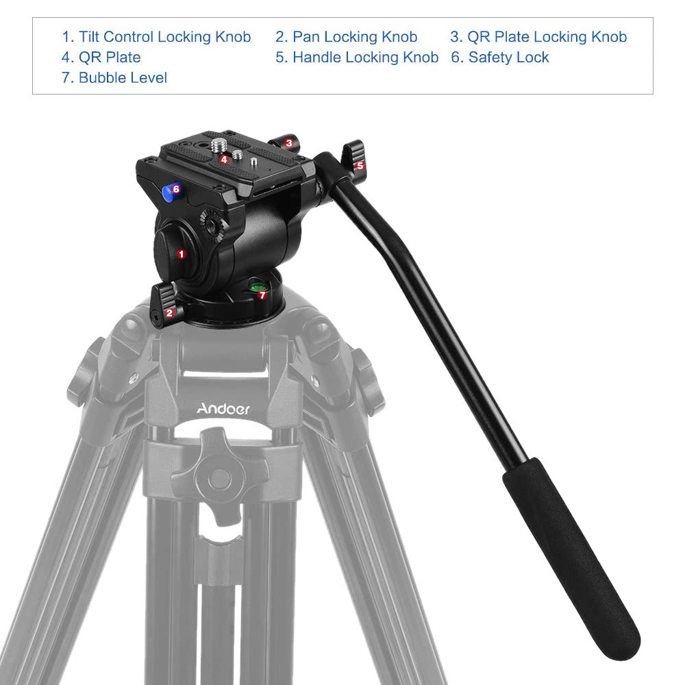 Go2Funlive Professional Photography Video 65Mm Base Diameter Fluid Drag Tilt Hydraulic Damping Head With Quick Release Plate For Dslr Camera Tripod Monopod Slider Rail