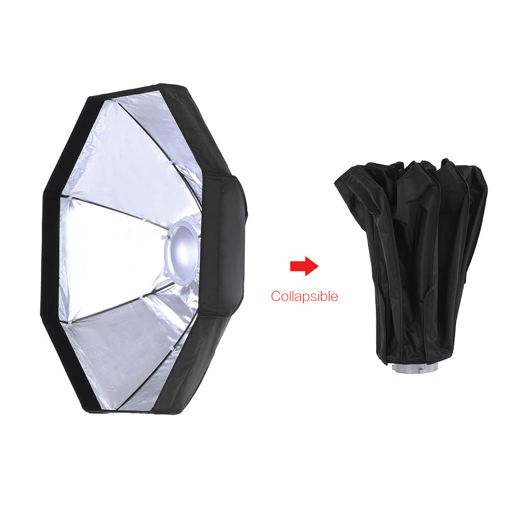 Go2Funlive 8 Pole 80Cm/31.5 Inch Silver/Black Foldable Collapsible Beauty Dish Octagon Softbox Flash Reflector Diffuser W/ Soft Cloth For Bowens Mount Studio Photography Strobe Light