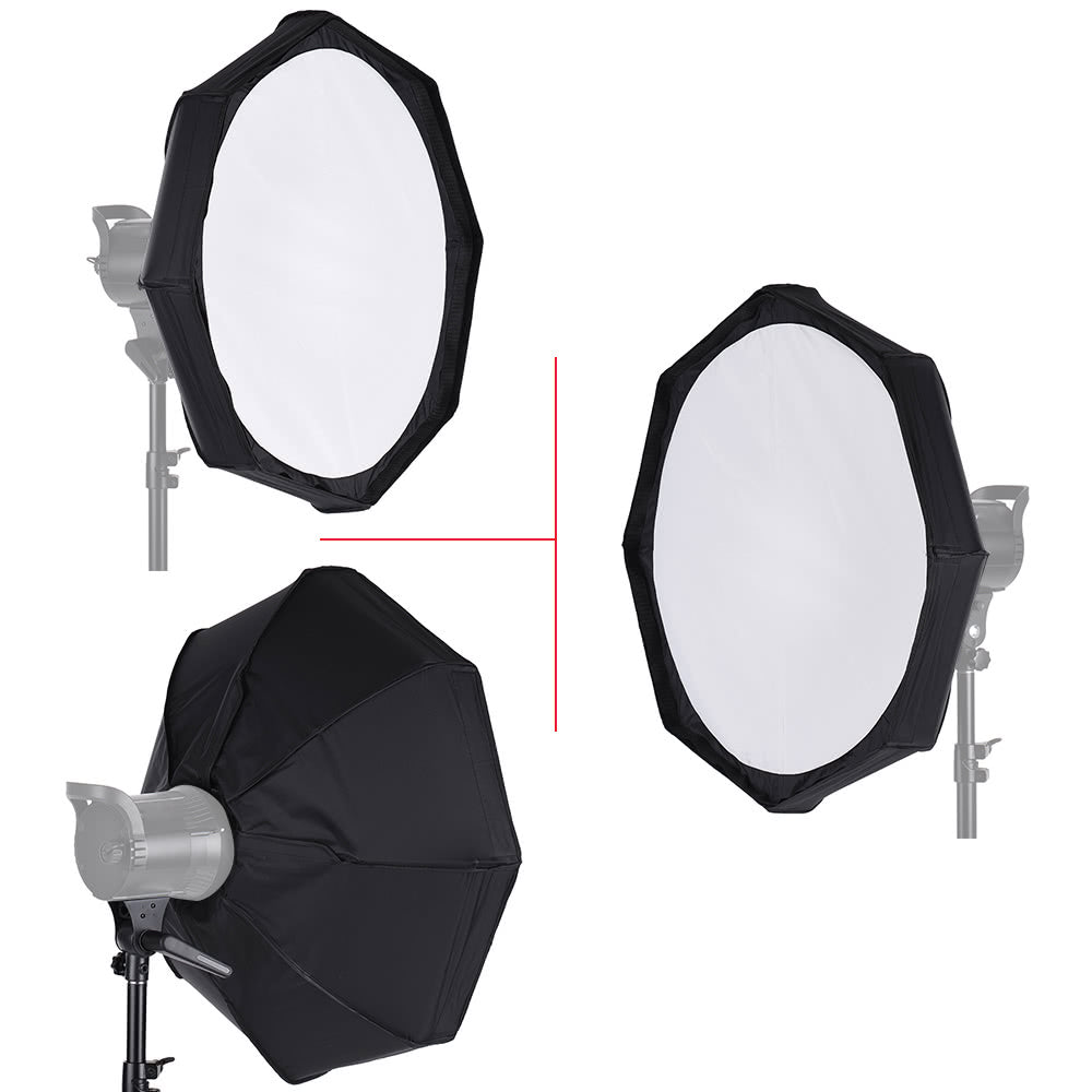 Go2Funlive 8 Pole 80Cm/31.5 Inch Rubber White/Black Foldable Collapsible Beauty Dish Octagon Softbox Flash Reflector Diffuser For Bowens Mount Studio Photography