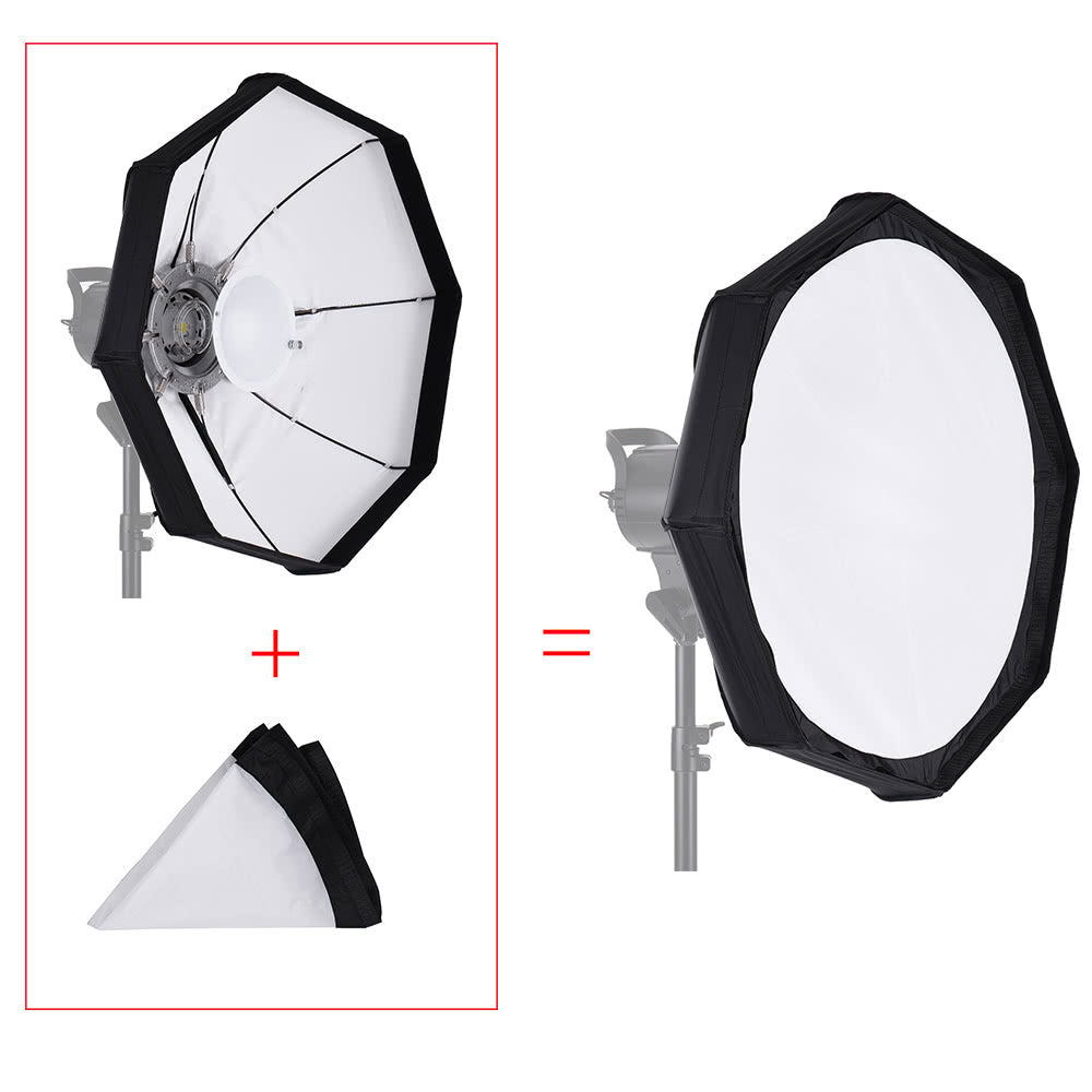 8 Pole 80cm/31.5 inch Rubber White/Black Foldable Collapsible Beauty Dish Octagon Softbox Flash Reflector Diffuser for Bowens Mount Studio Photography