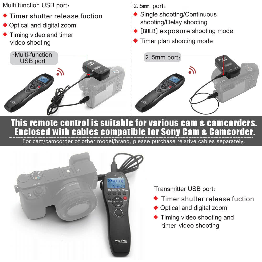Go2Funlive Youpro Vt-2 Wireless Remote Control Commander Lcd Timer Shutter Release Video Transmitter Receiver For Sony A7 A7R A7S A7 Ii A7S Ii A7R Ii A58 A6300 Rx100 Series Camera Camcorder