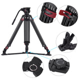 Miliboo MTT609A Professional Photography 3 Sections Tripod Stand Aluminum Alloy with 360¡ã Panorama Fluid Hydraulic Bowl Head Max. Height 170cm/ 5.6ft Load Capacity 15kg for Canon Nikon Sony DSLR Cameras Camcorders