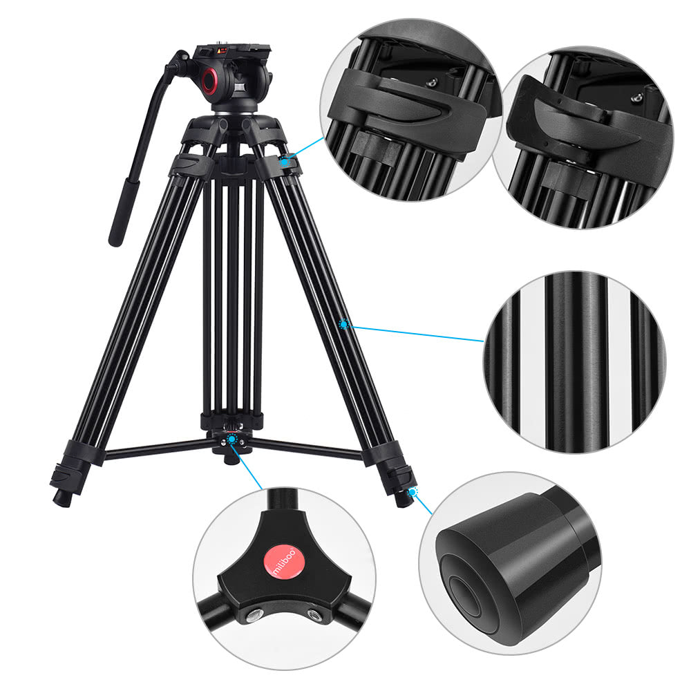 Go2Funlive Miliboo Mtt601A Professional Photography Aluminum Alloy Tripod Stand 3 Sections With 360¡ã Panorama Fluid Hydraulic Bowl Head Max. Height 153Cm/ 5Ft Load Capacity 10Kg For Canon Nikon Sony Dslr Cameras Camcorders