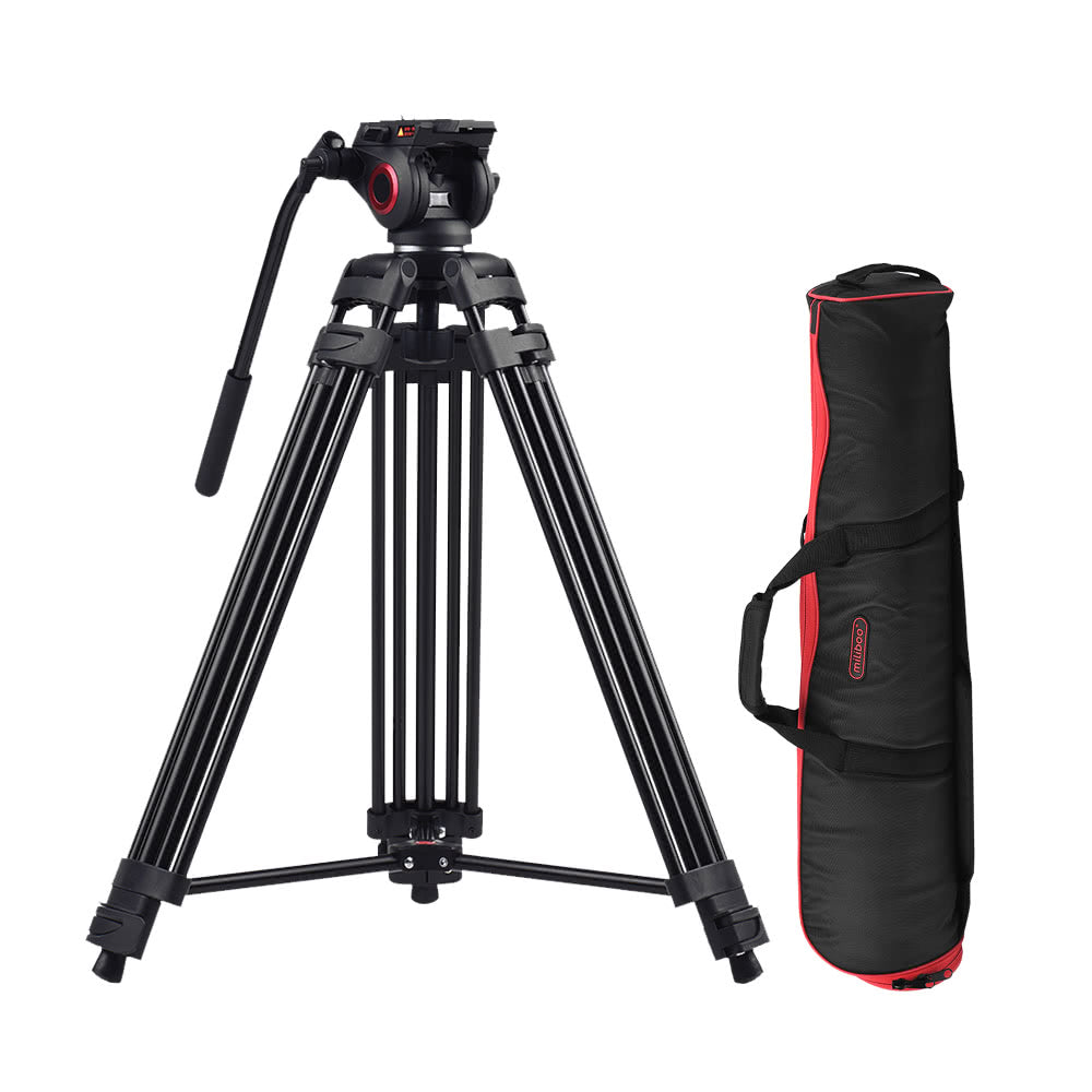 Miliboo MTT601A Professional Photography Aluminum Alloy Tripod Stand 3 Sections with 360¡ã Panorama Fluid Hydraulic Bowl Head Max. Height 153cm/ 5ft Load Capacity 10kg for Canon Nikon Sony DSLR Cameras Camcorders