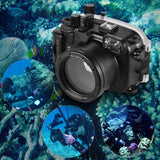 Go2Funlive Meikon Waterproof Camera Diving Housing Protective Case Cover Underwater 40M/ 130Ft For Canon G7X Mark Ii