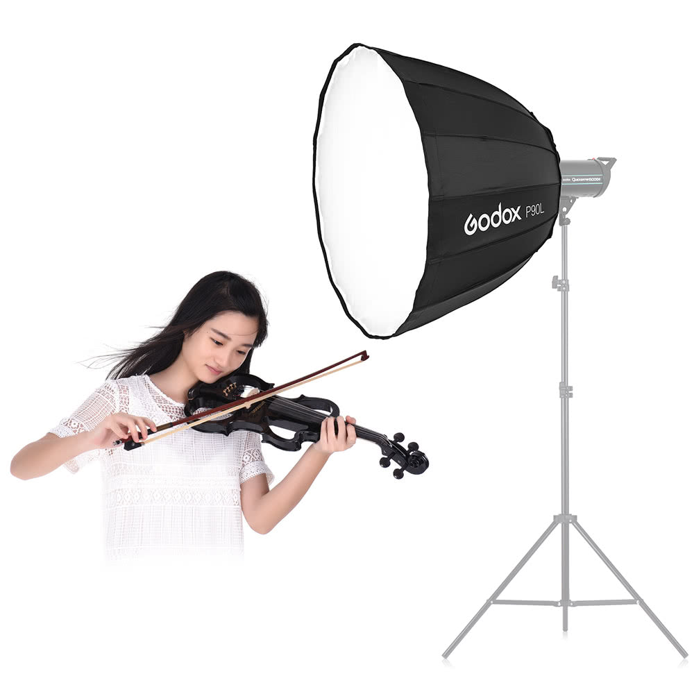 Go2Funlive Godox P90L 90Cm Deep Lightweight Parabolic Softbox With Bowens Mount Adapter Ring For Various Brands Of Bowens Mount Studio Monolight Flash Light