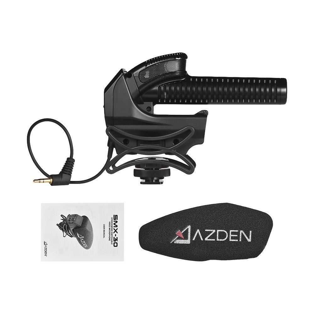 Go2Funlive Azden Smx-30 Stereo/Mono Switchable Video Microphone Wide Frequency Response Low Noise Operation Gain Control With Brand New Shock Absorbing Shoe Mount For Canon Nikon Sony Dslr Ildc Camera