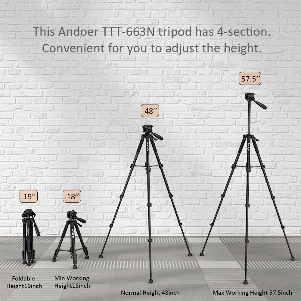 Andoer?TTT-663N?57.5inch?Travel?Lightweight?Camera?Tripod?for?Photography?Video?Shooting?Support?DSLR?SLR Camcorder with?Carry?Bag?Phone?Clamp?Max.Load?3kg