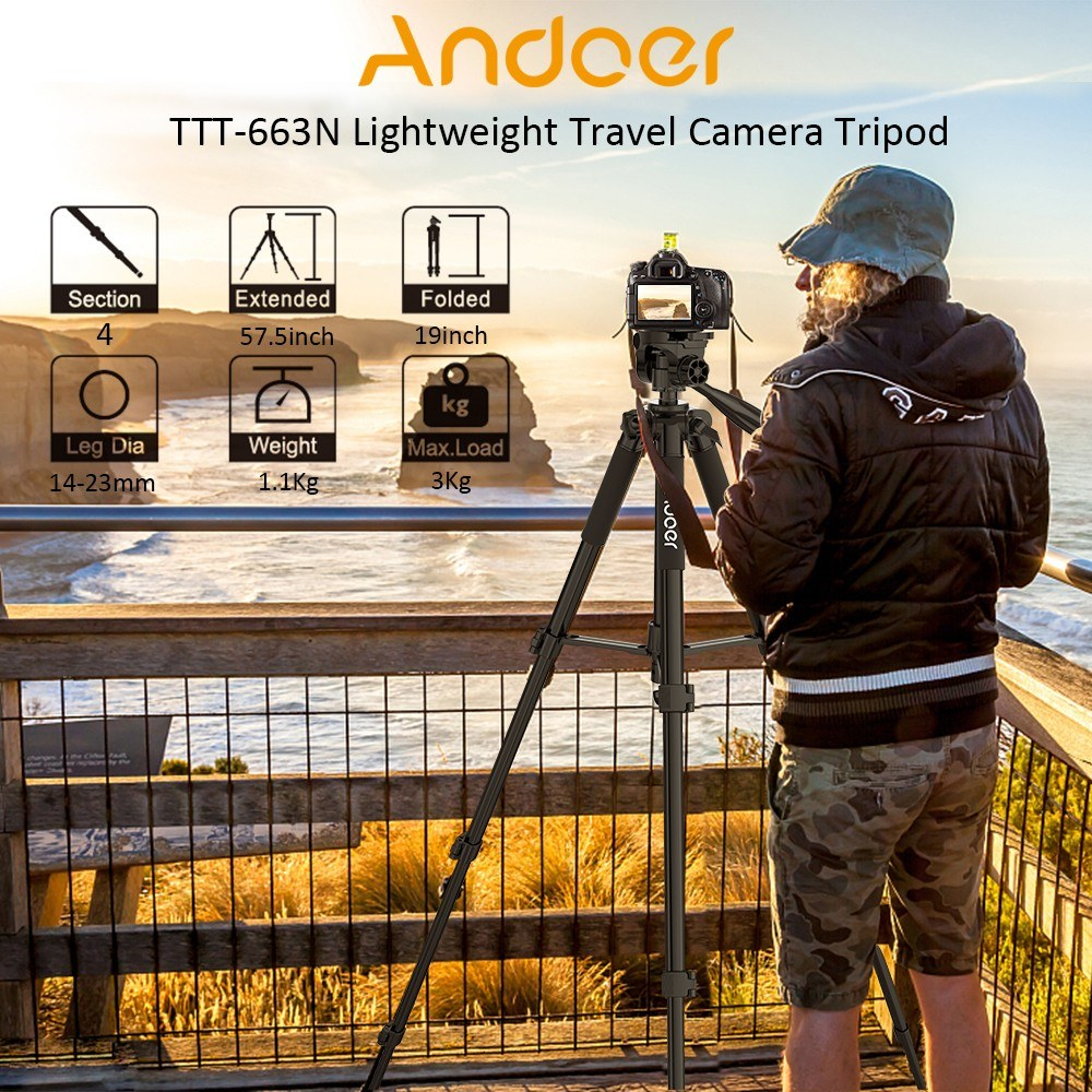 Go2Funlive Andoer?Ttt-663N?57.5Inch?Travel?Lightweight?Camera?Tripod?For?Photography?Video?Shooting?Support?Dslr?Slr Camcorder With?Carry?Bag?Phone?Clamp?Max.Load?3Kg