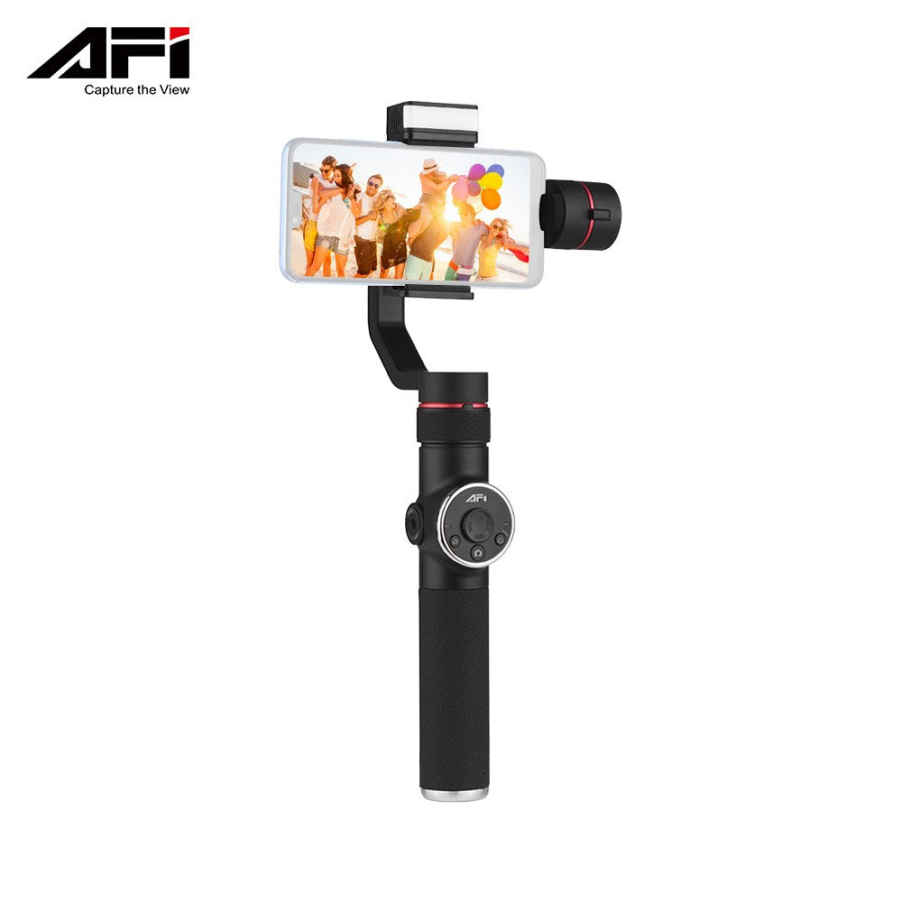 Go2Funlive Afi V5 Portable 3-Axis Handheld Gimbal Mobile Phone Video Stabilizer With Dimmable Fill Light Horizontal Vertical Shooting Time-Lapse Panoramic Shooting For Under 6 Inches Smartphones For Gopro Hero 3/3+/4/5 Load Capacity 75G-200G
