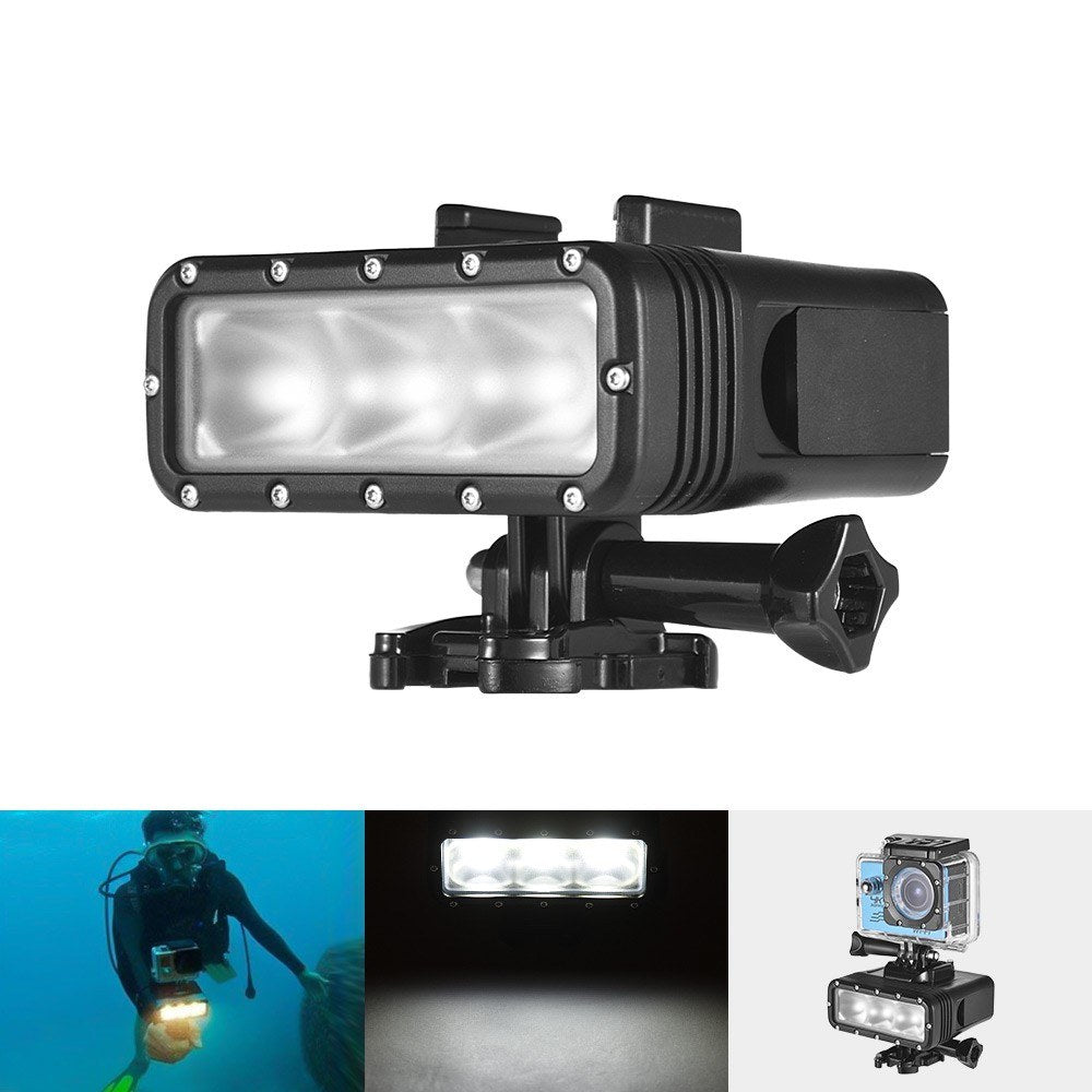 Go2Funlive Action Camera Light Waterproof Led Video Light Dimmable Lamp Underwater 40M Diving With 900Mah Rechargeable Battery For Gopro 7 Or Any Action Camera
