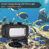 Action Camera Diving LED Fill-in Light Lamp 600LM 3 Lighting Modes 30m Waterproof with 2pcs Rechargeable Batteries for GoPro Hero 7/6/5s/5/4s/4/3+/3 for SJCAM Xiaomi Yi Sports Cameras