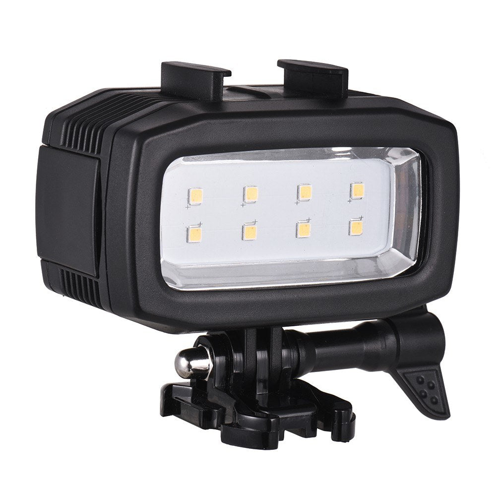 Go2Funlive Action Camera Diving Led Fill-In Light Lamp 600Lm 3 Lighting Modes 30M Waterproof With 2Pcs Rechargeable Batteries For Gopro Hero 7/6/5S/5/4S/4/3+/3 For Sjcam Xiaomi Yi Sports Cameras