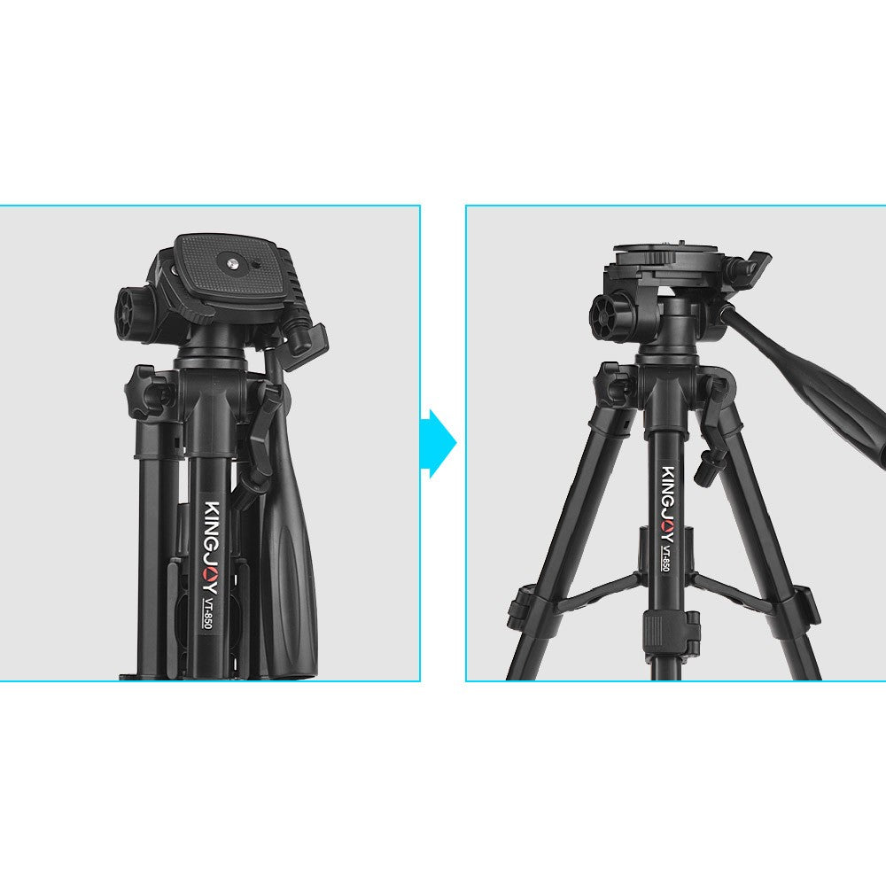 Kingjoy VT-850 28 Inch 3 Section Aluminum Alloy Professional Camera Tripod for Photography Video Shooting Support DSLR SLR Camcorder with Carry Bag