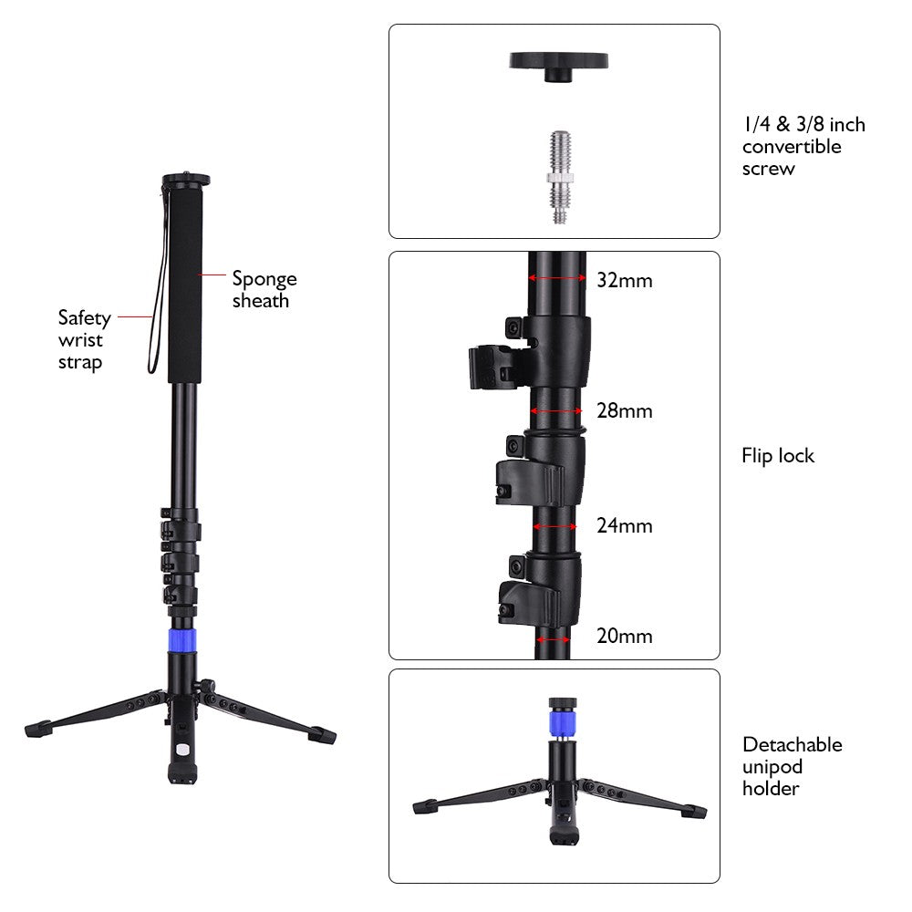 Aluminum Alloy Flip Lock Monopod with Unipod Holder 1/4 3/8 Inch Screw Mounts for DSLR ILDC Camera Camcorder DV 4-Sections Up to 67 Inch Max. Load Capacity 5kg