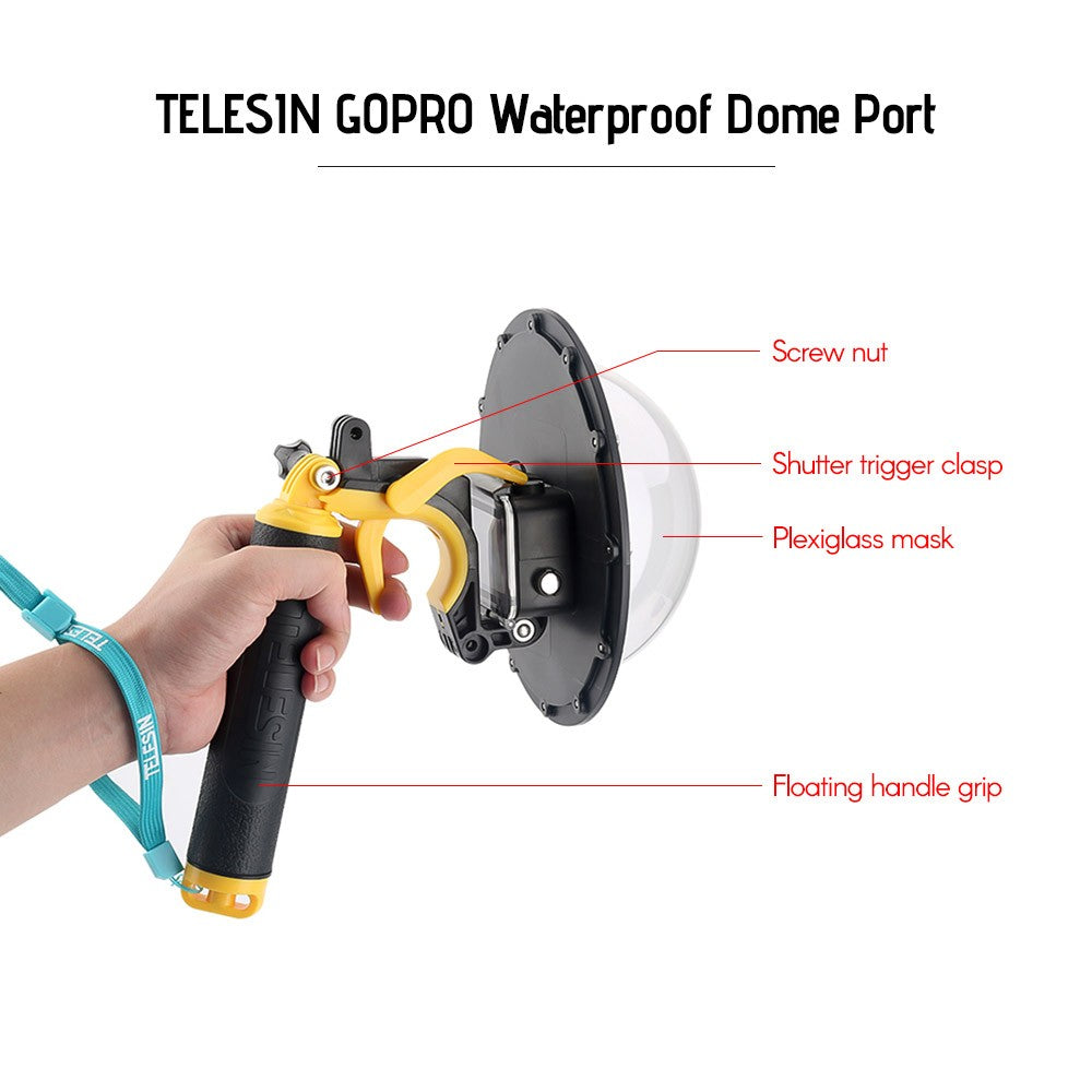 TELESIN Waterproof Dome Port Lens Cover Kit Set with Waterproof Housing Case Floating Hand Grip Trigger Transparent Cover for Underwater Diving Swimming Photography for GoPro Hero 5/6/7 Action Sports Cameras