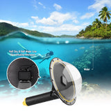 Go2Funlive Telesin Waterproof Dome Port Lens Cover Kit Set With Waterproof Housing Case Floating Hand Grip Trigger Transparent Cover For Underwater Diving Swimming Photography For Gopro Hero 5/6/7 Action Sports Cameras