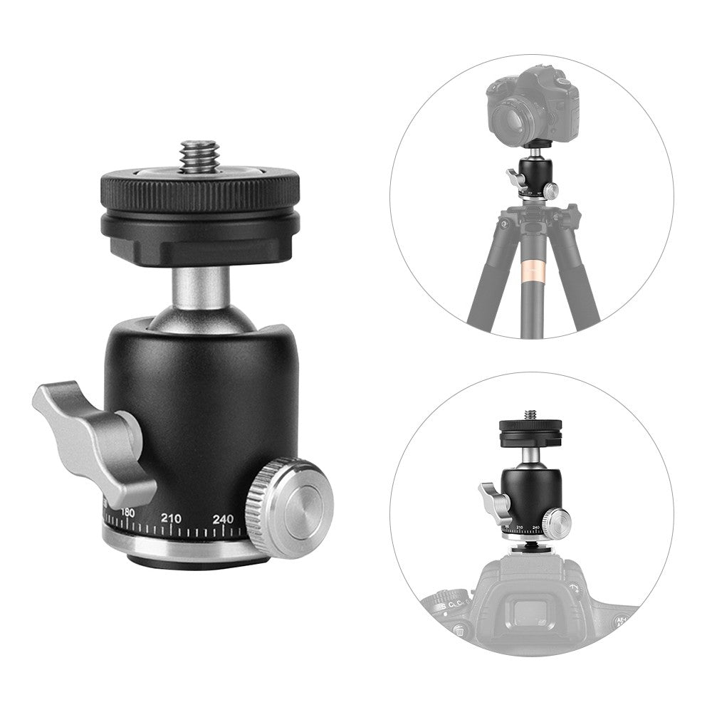 Go2Funlive Multi-Function Aluminum Alloy Mini Ballhead Ball Head 360¡ã Panorama Head With Hot Shoe Base Mount 1/4 Inch Screw For Camera Dslr Video Light Microphone
