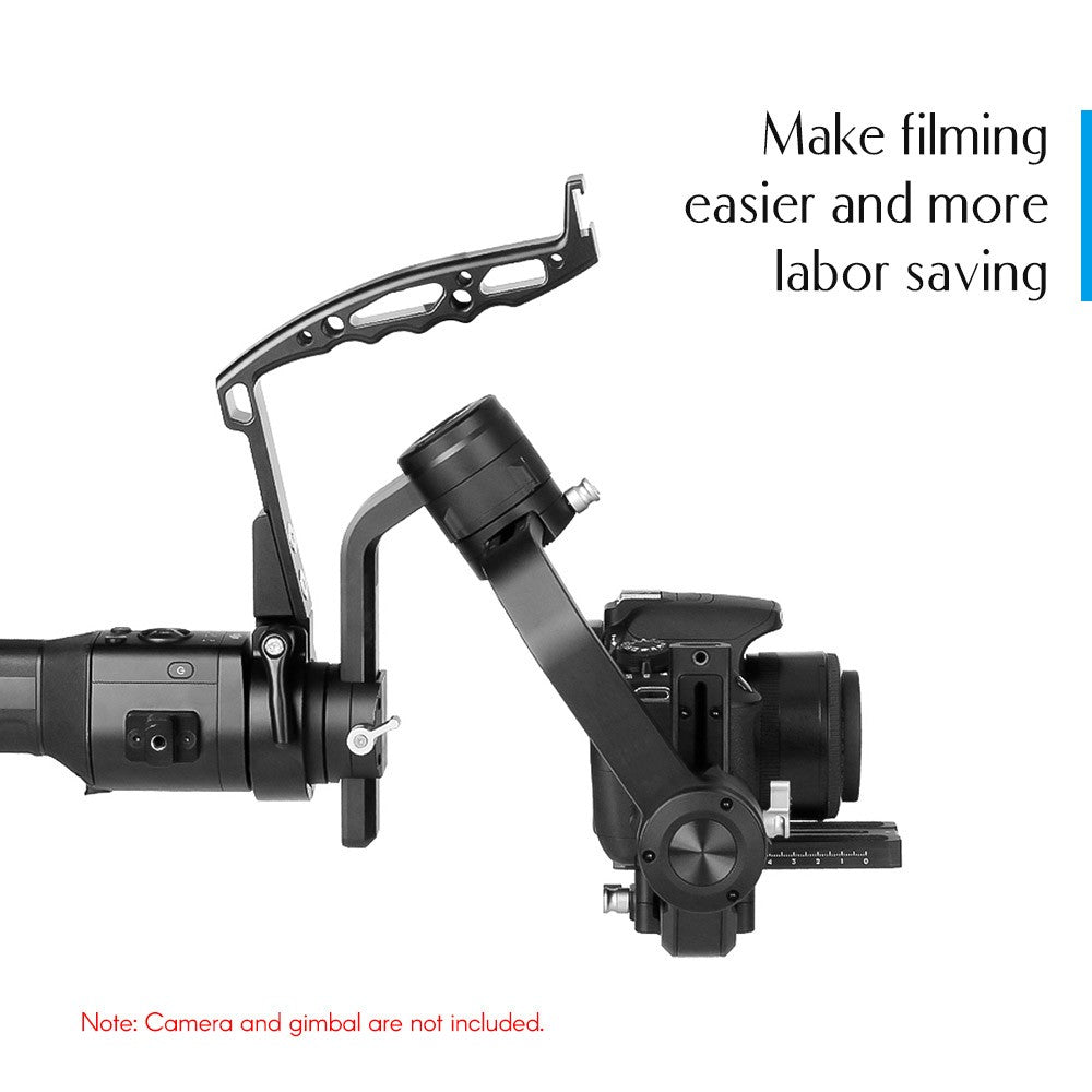Go2Funlive Agimbalgear Handle Grip Neck Ring Mounting With 1/4 Inch And 3/8 Inch Screw Holes Cold Shoe Mount Support Low Angle Shooting Compatible For Dji Ronin-S Handheld Gimbal Stabilizer Accessories