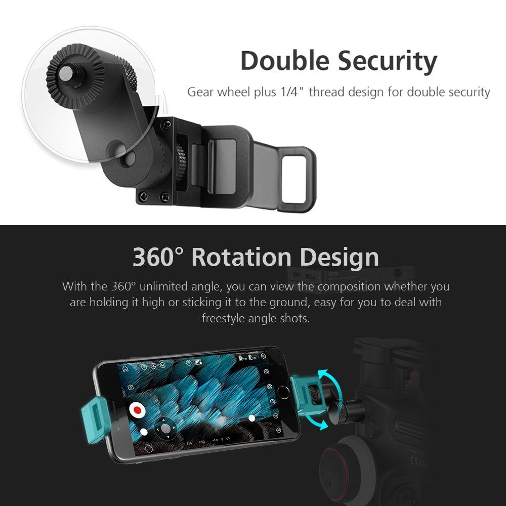 Go2Funlive Zhiyun Transmount Smartphone Phone Clip Clamp Holder Adapter 1/4 Inch Screw Mount With Crown Gear For Zhiyun Crane 3 Lab Weebill Lab Stabilizer Gimbal Accessories