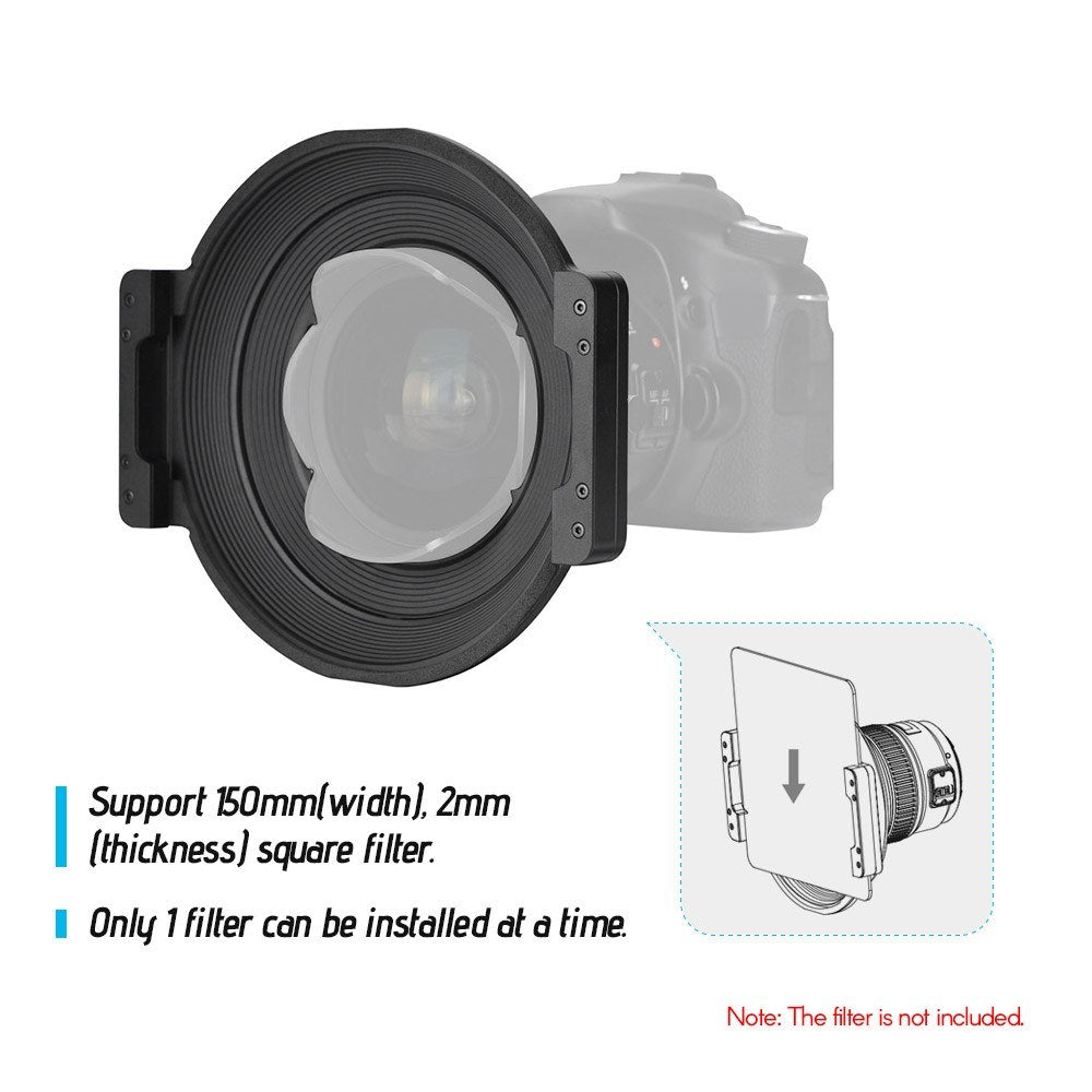 Go2Funlive Yongnuo Professional 150Mm Square Filter Holder With Adapter Ring Kit 360 Degree Rotation Lightweight Aviation Aluminum Alloy