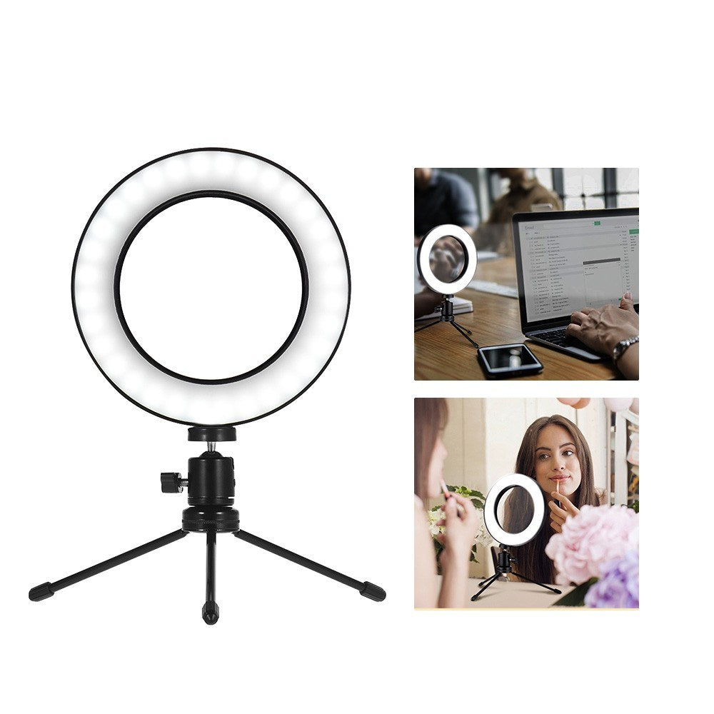 Go2Funlive 8 Inch Desktop Mini Led Video Ring Light Lamp Dimmable 3 Lighting Modes Usb Powered With Telescopic Light Stand Mini Desktop Tripod For Network Broadcast Selfie Facial Makeup