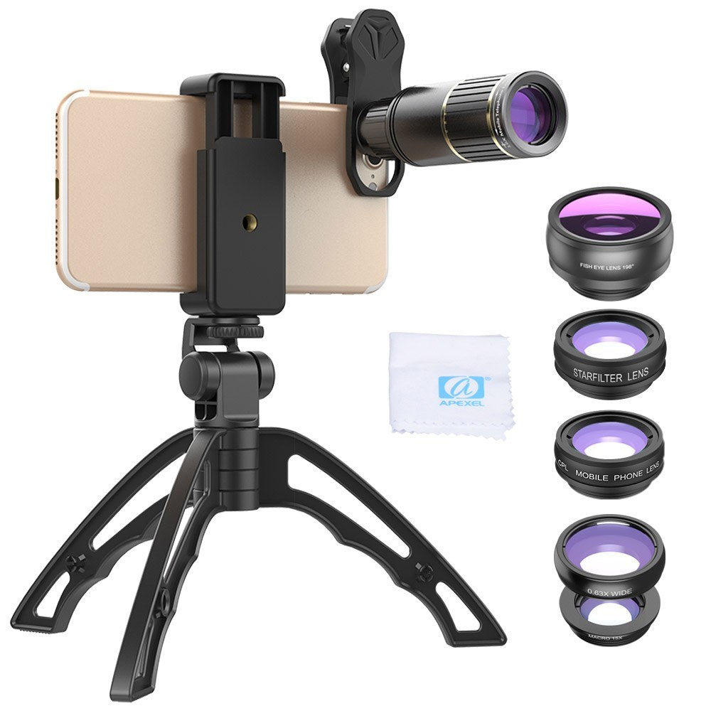 APEXEL APL-JS16XJJ04D5 6 In 1 Phone Lens Kit 16X Zoom Universal Telephoto Lens 198¡ã Fisheye Lens 0.63X Wide Angle Lens 15X Macro Lens CPL&Star Filter with Tripod Phone Holder Lens Clip for iPhone Samsung Huawei Smartphones