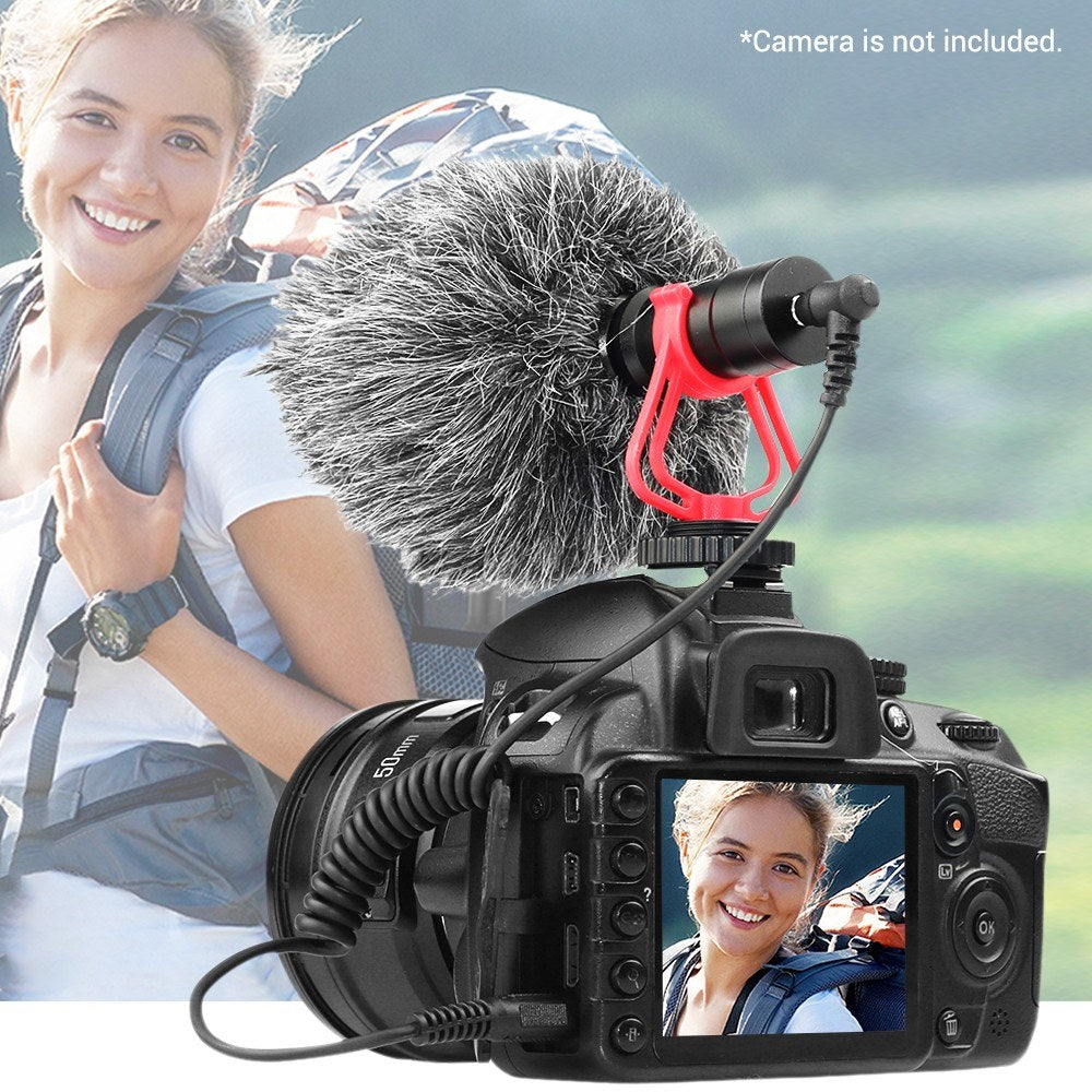 Go2Funlive Universal Cardioid Directional Video Condenser Microphone Mini Mic 3.5Mm Plug With Anti-Shock Mount For Canon Nikon Sony Dslr Ildc Cameras Camcorders Smartphones