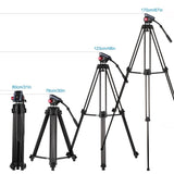 Go2Funlive Andoer Professional Aluminum Alloy Video Tripod With Fluid Hydraulic Head Spare Quick Release Plate 3-Section Telescoping For Canon Nikon Sony Dslr Camera Camcorder Max. Height 67 Inch Max. Load 10Kg