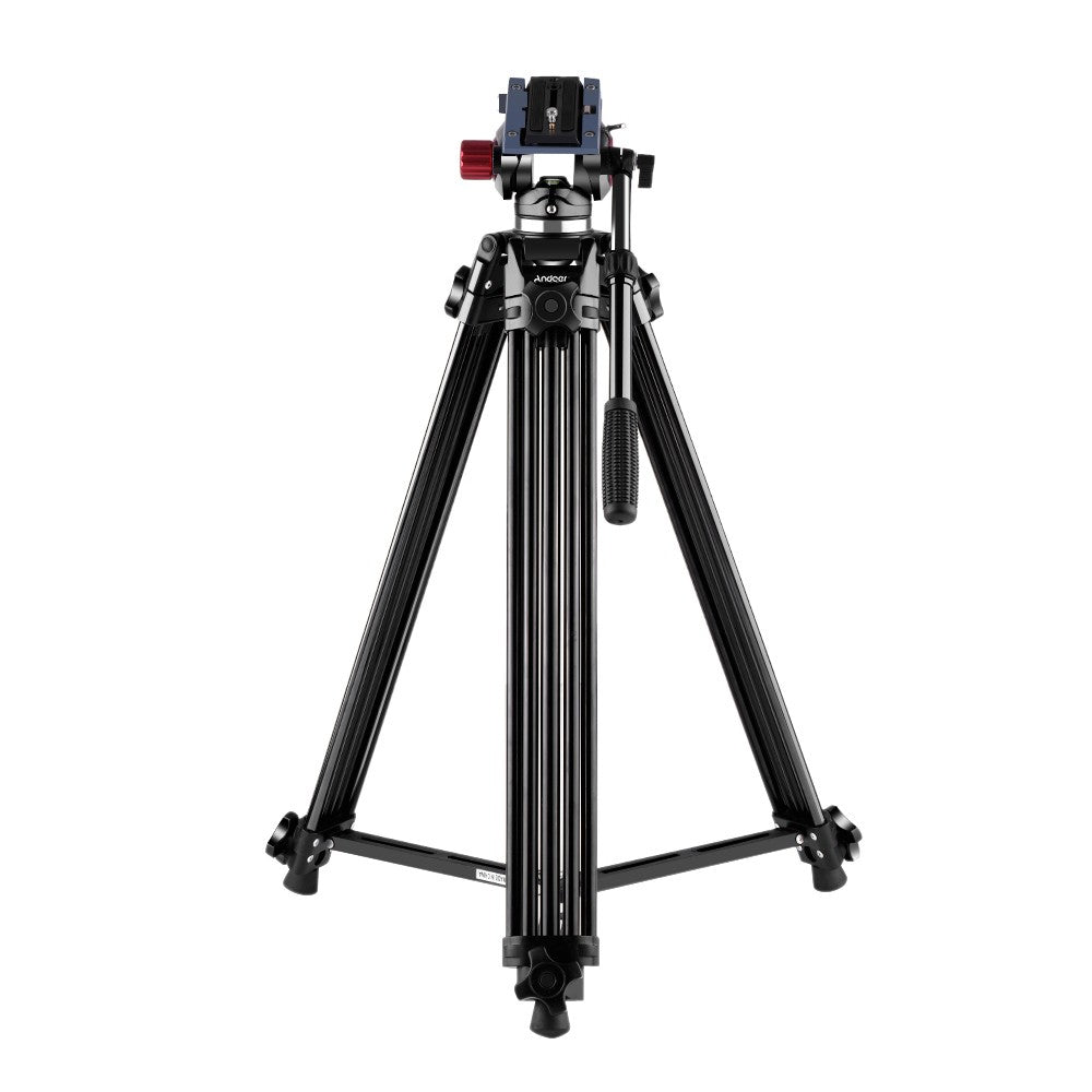 Andoer Professional Aluminum Alloy Video Tripod with Fluid Hydraulic Head Spare Quick Release Plate 3-Section Telescoping for Canon Nikon Sony DSLR Camera Camcorder Max. Height 67 Inch Max. Load 10kg