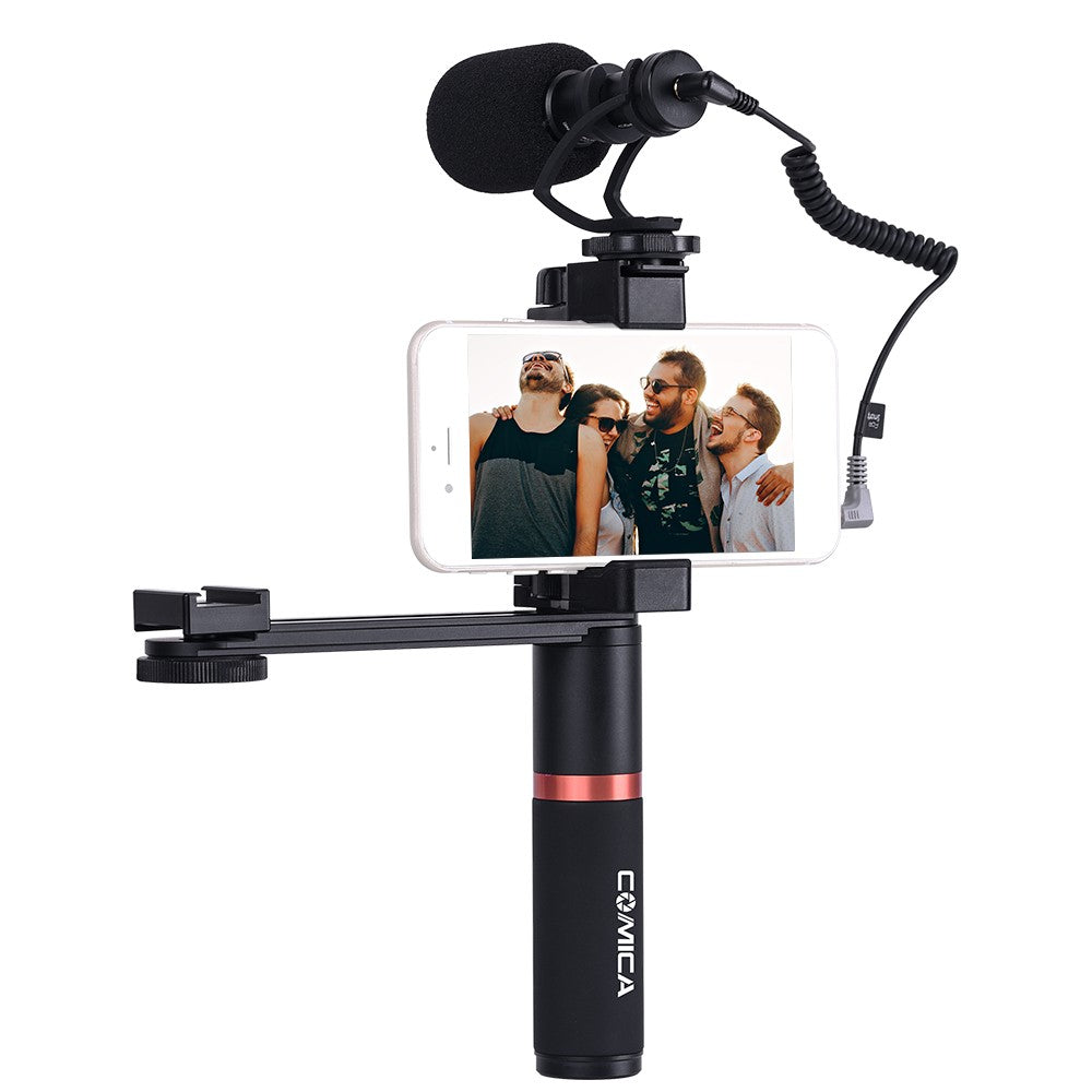 CoMica CVM-VM10-K4 Smartphone Video Kit with Cardioid Directional Shotgun Video Microphone Phone Holder Ordinary Handle Grip Connecting Rod for iPhone Samsung HUAWEI 54-95mm Width Smartphones for Mini Video Light with Cold Shoe