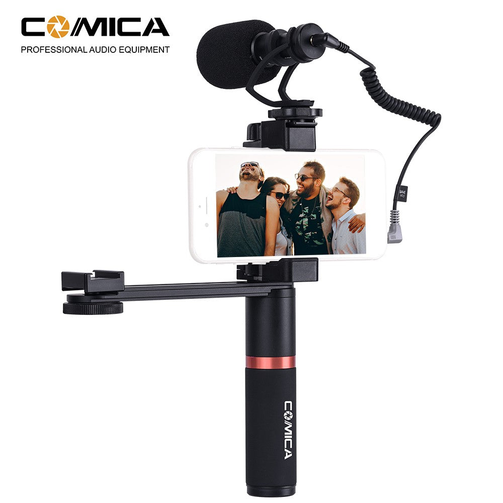 Go2Funlive Comica Cvm-Vm10-K4 Smartphone Video Kit With Cardioid Directional Shotgun Video Microphone Phone Holder Ordinary Handle Grip Connecting Rod For Iphone Samsung Huawei 54-95Mm Width Smartphones For Mini Video Light With Cold Shoe