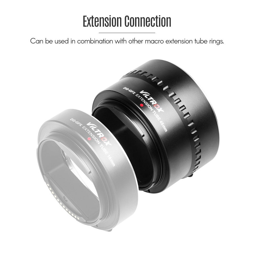 Go2Funlive Viltrox Dg-Gfx 45Mm Automatic Electronic Macro Extension Tube Adapter Ring Metal Electrical Contacts Support Ttl Auto Focus Af Ae Mode For Fuji G-Mount Medium Format Lenses For Fuji G-Mount Gfx Medium Format Cameras