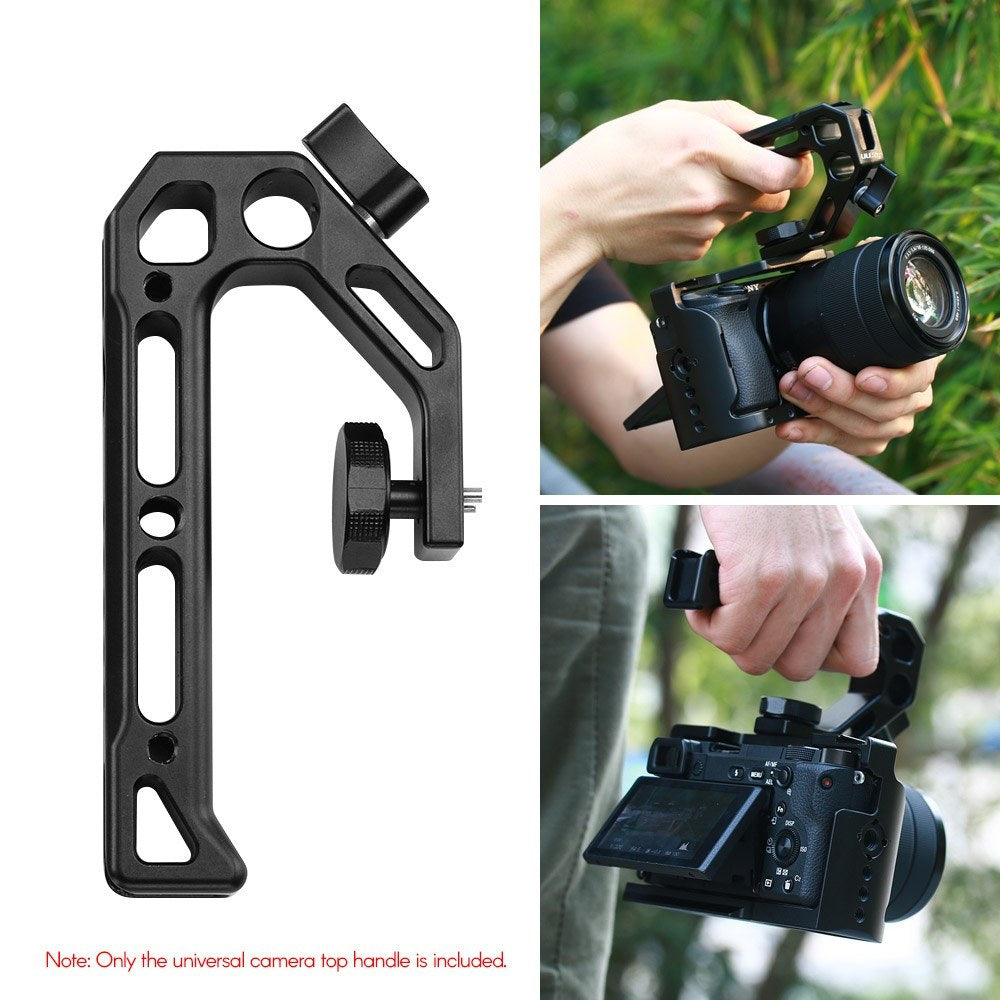 Go2Funlive Uurig R008 Universal Camera Top Handle Handgrip With Cold Shoe Mounts 15Mm Rod Clamp 3/8 Inch Screw Lock Adopt For Arri Standard Locating Hole For Microphone Lights Monitor For Camera Rig Cage