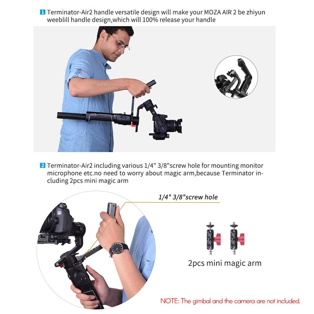 DF DIGITALFOTO TERMINATOR-AIR2 Versatile Handle with Hand Release Strap for Moza Air 2 for Zhiyun Crane 2 Gimbal