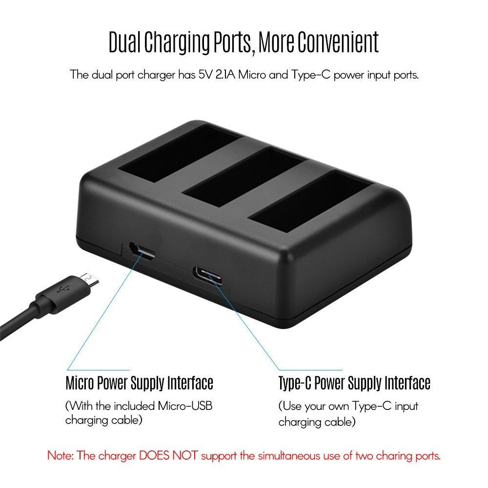 Go2Funlive Charging Kit Triple Channel Charger With 2Pcs 1300Mah Rechargeable Li-Ion Batteries Usb Charging Cable For Dji Osmo Action Camera