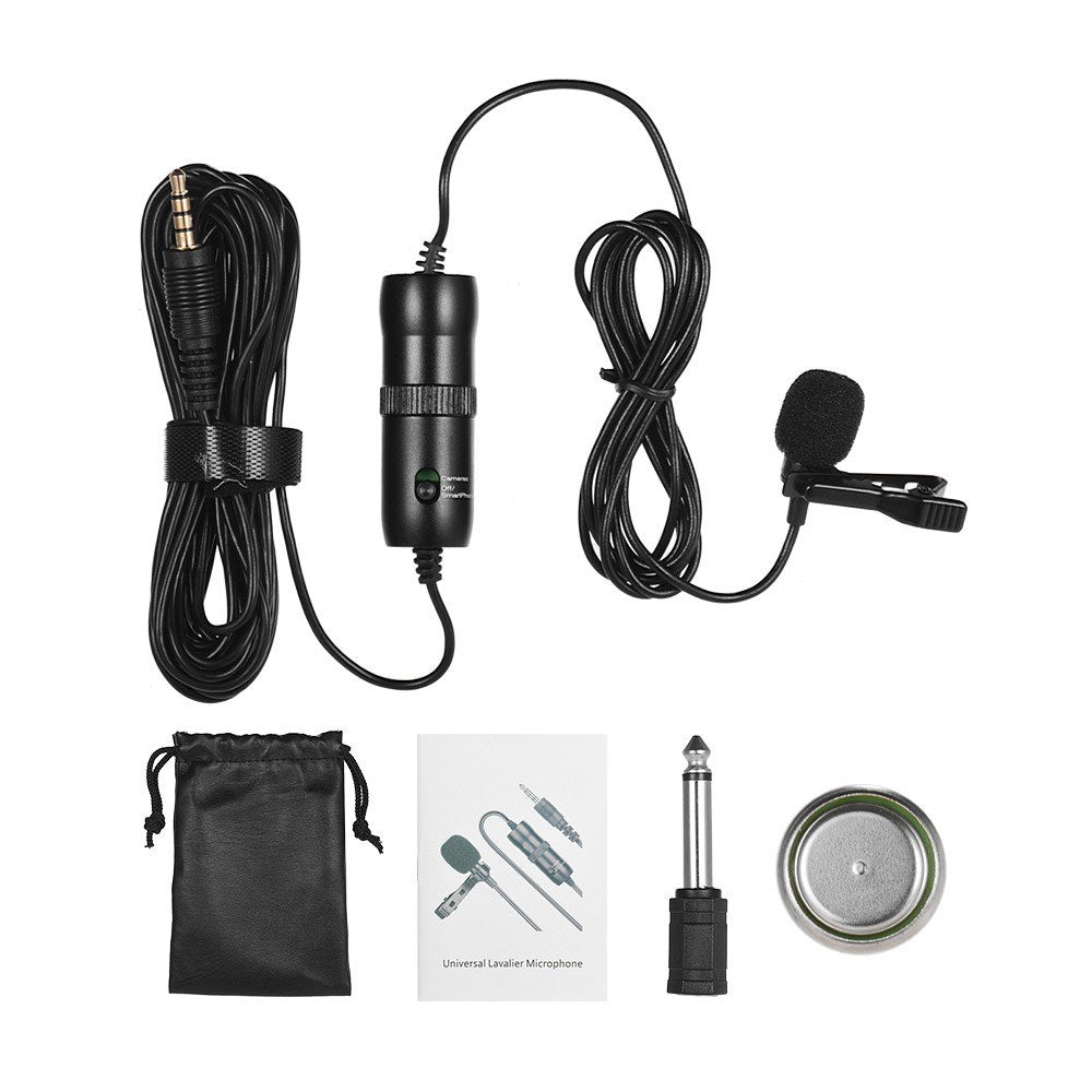 Go2Funlive Acemic Single Head Lavalier Microphone Mic Lapel Clip-On Omni-Directional Condenser With 6.5Mm Adapter For Smartphone Dslr Pc Camcorder Conference Youtuber Video Recording
