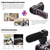 Go2Funlive Ordro Hdv-Az50 Portable Real 4K Uhd 30Fps Wifi Digital Video Camera Camcorder 3.1 Inch Ips Touchscreen 64X Digital Zoom Ir Night Vision Camcorder With 2Pcs Camera Batteries Cm-520 External Stereo Microphone