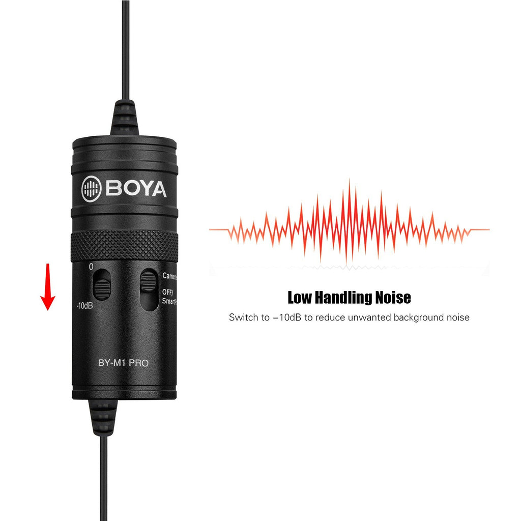 BOYA BY-M1 Pro Omni-Directional Lavalier Microphone Single Head Clip-on Condenser Mic for Smartphone DSLR Camcorder Audio Recorder PC Recording Device