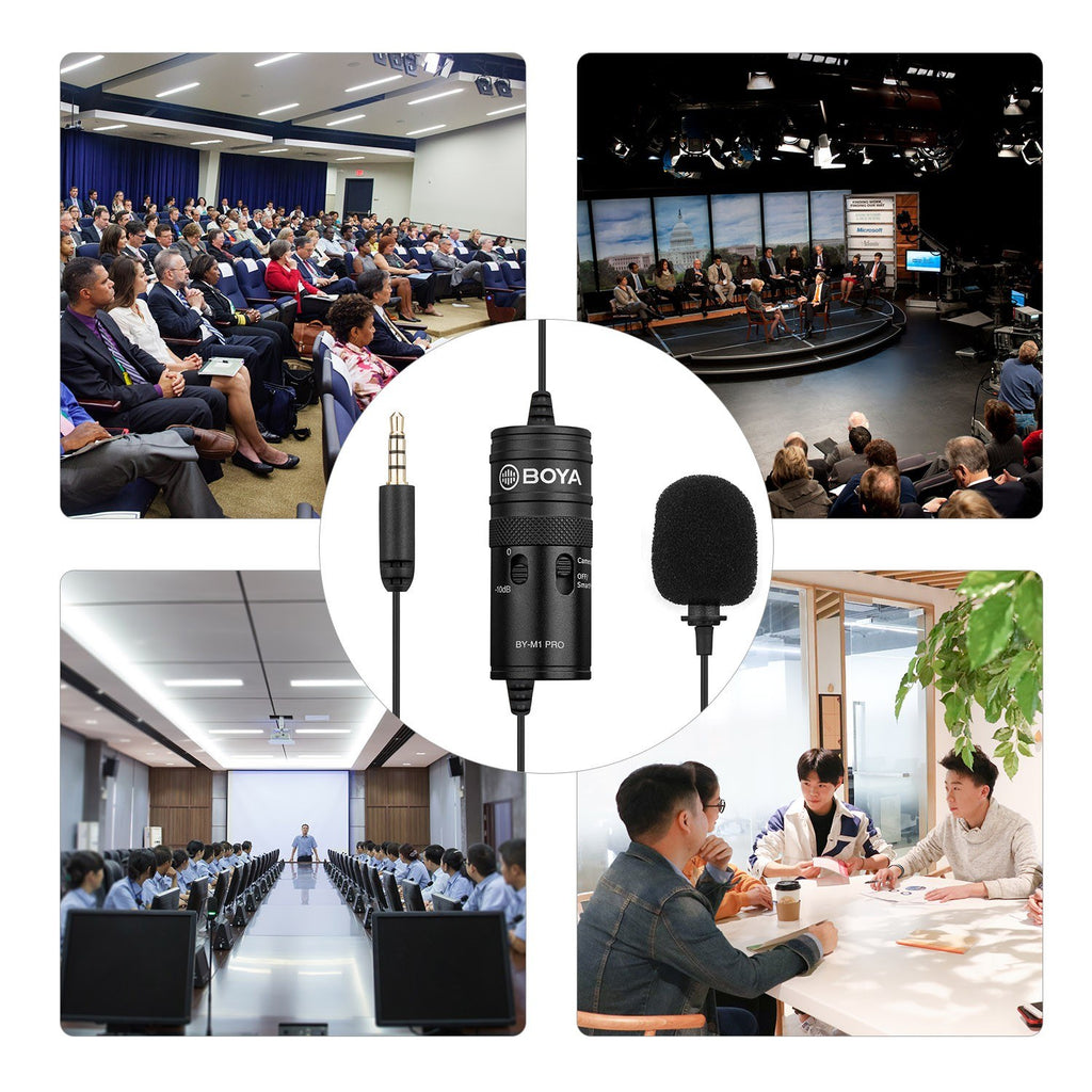 Go2Funlive Boya By-M1 Pro Omni-Directional Lavalier Microphone Single Head Clip-On Condenser Mic For Smartphone Dslr Camcorder Audio Recorder Pc Recording Device