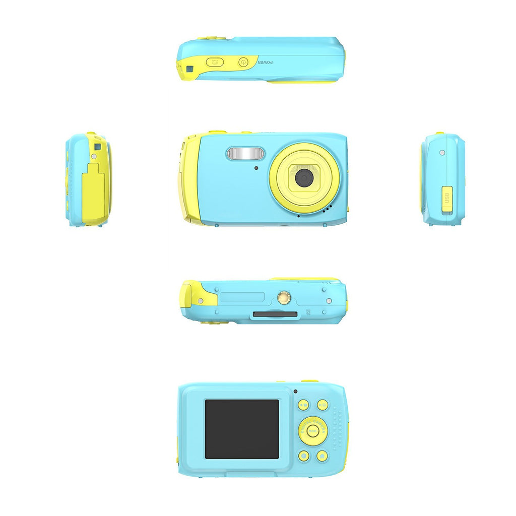 Kids Digital Camera Children Mini Action Camcorder Maximum 5MP 2.0 Inch TFT Display Continuous Shot Built-in Microphone Recording with Waterproof Case and Protective Case