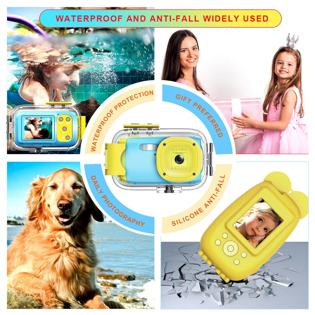 Go2Funlive Kids Digital Camera Children Mini Action Camcorder Maximum 5Mp 2.0 Inch Tft Display Continuous Shot Built-In Microphone Recording With Waterproof Case And Protective Case