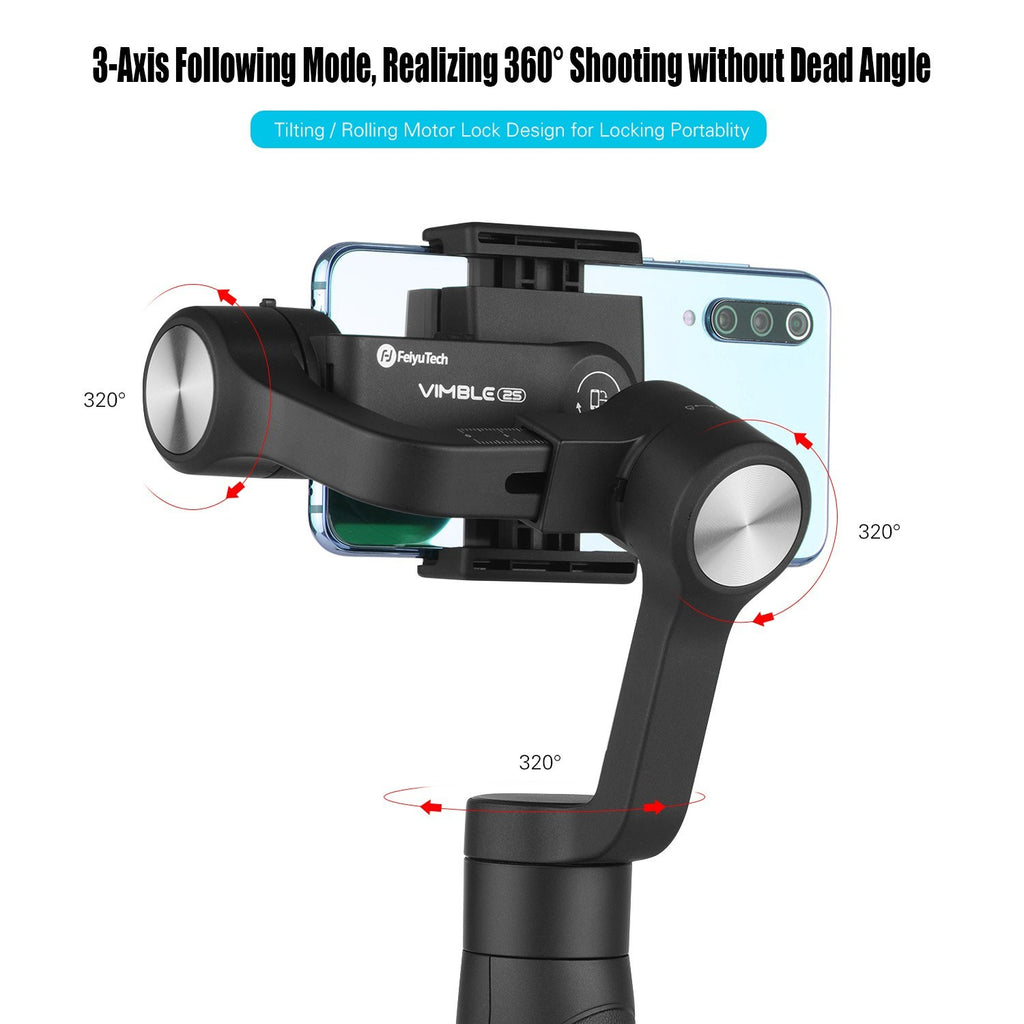 Go2Funlive Feiyutech Vimble 2S Smartphones Gimbal Stabilizer 3-Axis Handheld Stabilizers With Telescopic Pole Built-In Zoom Slider For Mobile Phone Video Stable Photography Compatible With Iphone Huawei Samsung Phones