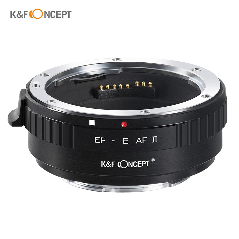 Go2Funlive K&F Concept Ef-E Af Ii Lens Mount Adapter Ring 0.5S High Speed Auto Focus Anti-Shake With Tripod Mount For Ef-Mount Lens To Full Frame/Aps-C E-Mount Camera Compatible With Sony A9/A7R2/A7M2/A6500/A6300/A7/A6000/A5100/Nex-7/Nex-5N/Nex-5/Nex-3C