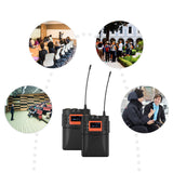 Wireless Lavalier Microphone System UHF 60-channels One Transmitter One Receiver for DSLR Camera Camcorder Smartphone PC Tablet Sound Audio Interview Recording