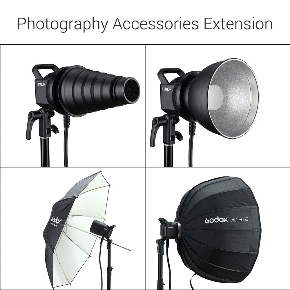 Go2Funlive Godox H400P Flash Head Bowens Mount Off-Flash Handheld Extension Head For Godox Witstro Ad400Pro Flash Strobe
