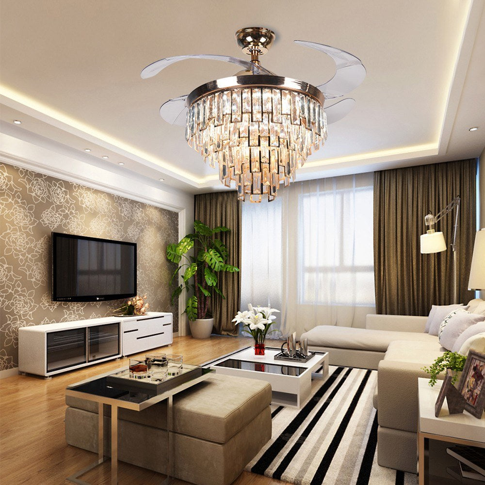 Go2Funlive Invisible Crystal Ceiling Fan Light Modern Luxury Dining Room Ceiling Fan Lamp 42 Inch 4 Fan Blade Decor Lighting With Remote Control